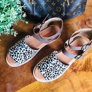 Anthropologie Gee Wawa Leather Animal Print Sandal